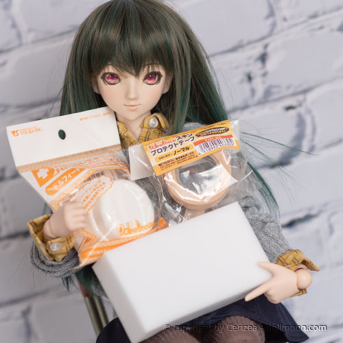 You can use the Dollfie Dream tape from volks to put in on your doll, also helping to prevent stains. Otherwise there are some solutions for you, which might remove the stains from your doll.
